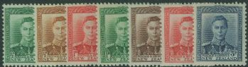 NZ SG603-9 1938-44 King George VI definitive set of 7